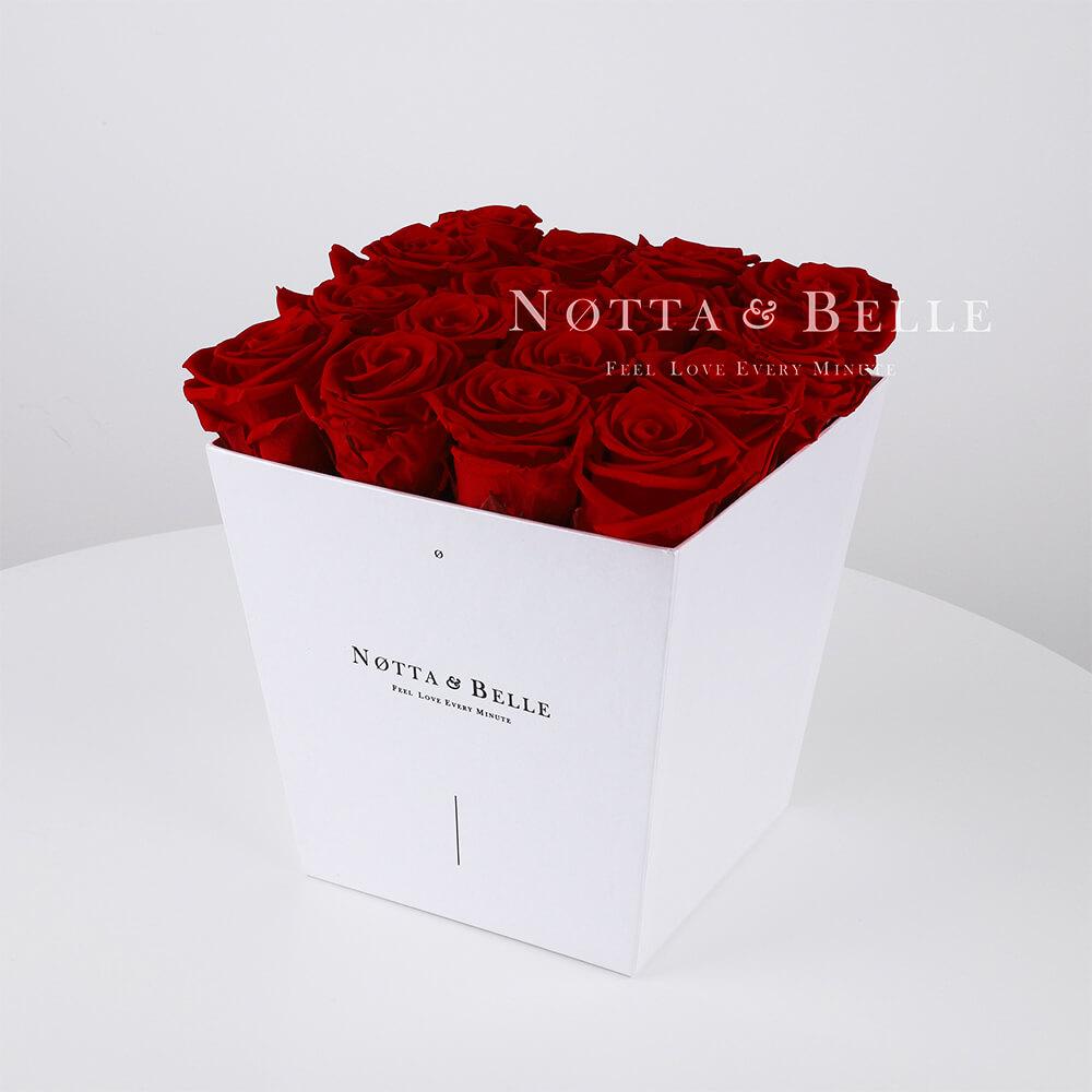 Долговечный букет из 17 бордовых роз - №261