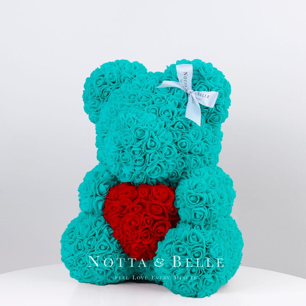 Ourson de roses avec un cœur Turquoise - 35 сm
