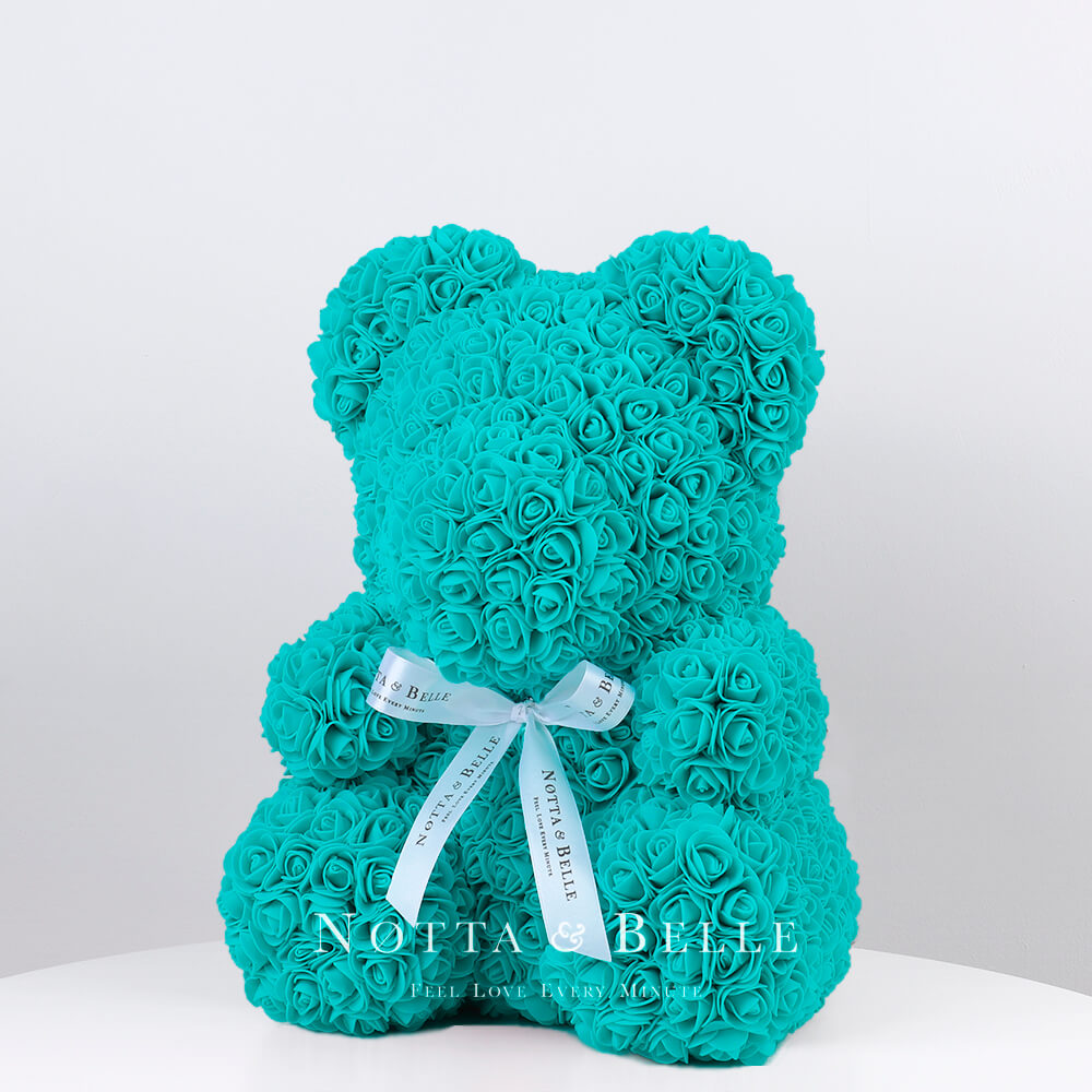 Turquoise Rose Bears - 14 in. (35cm)