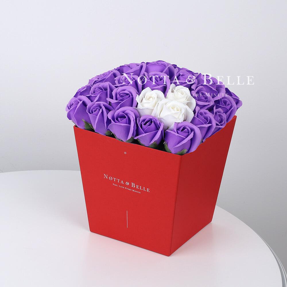 Мыльный букет лавандового цвета №454 из 35 розы