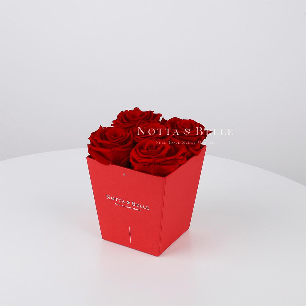 Долговечный букет из 5 бордовых роз - №064