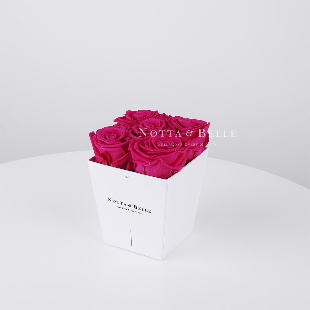 Долговечный букет из 5 роз цвета фуксия - № 071