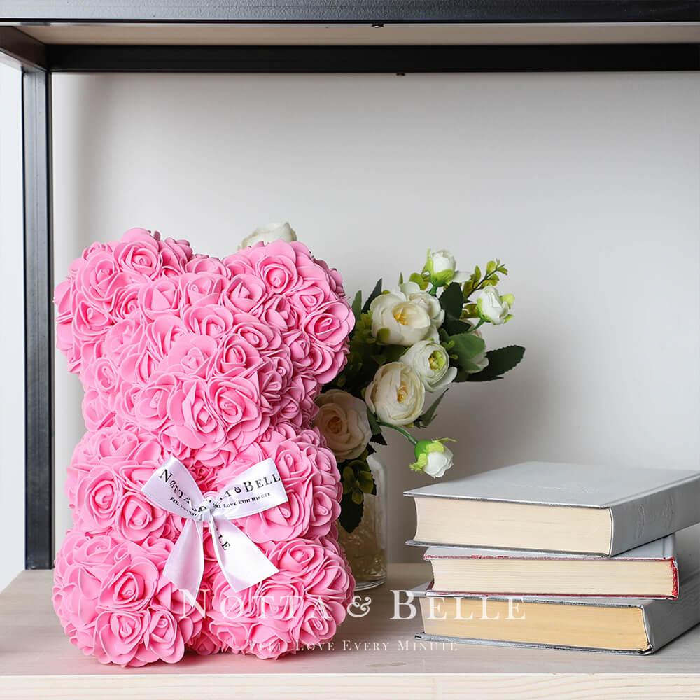 Розовый мишка из роз - 25 см