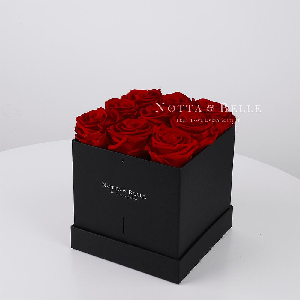 Долговечный букет из 9 бордовых роз - №362
