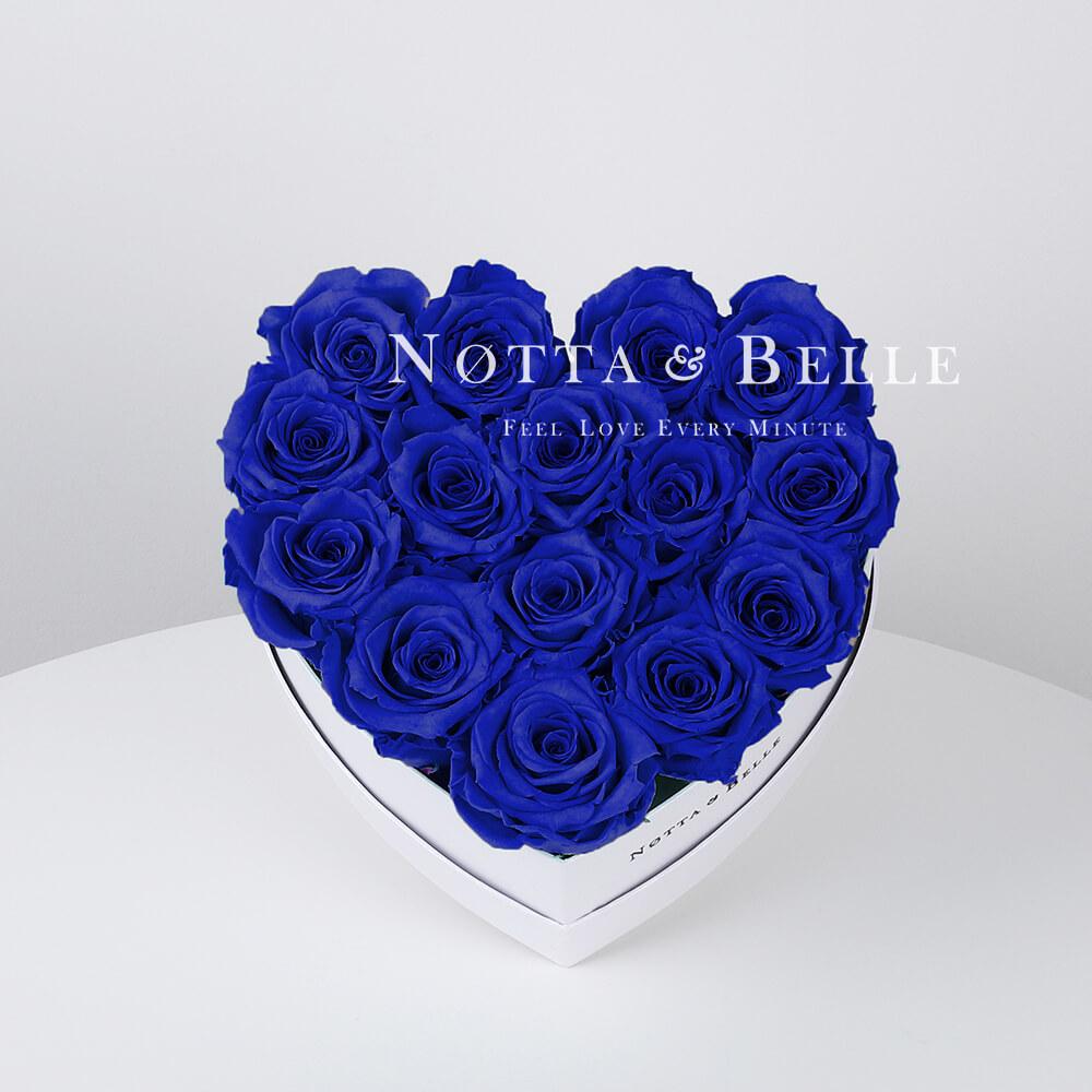 Долговечный букет из 15 синих роз - №831