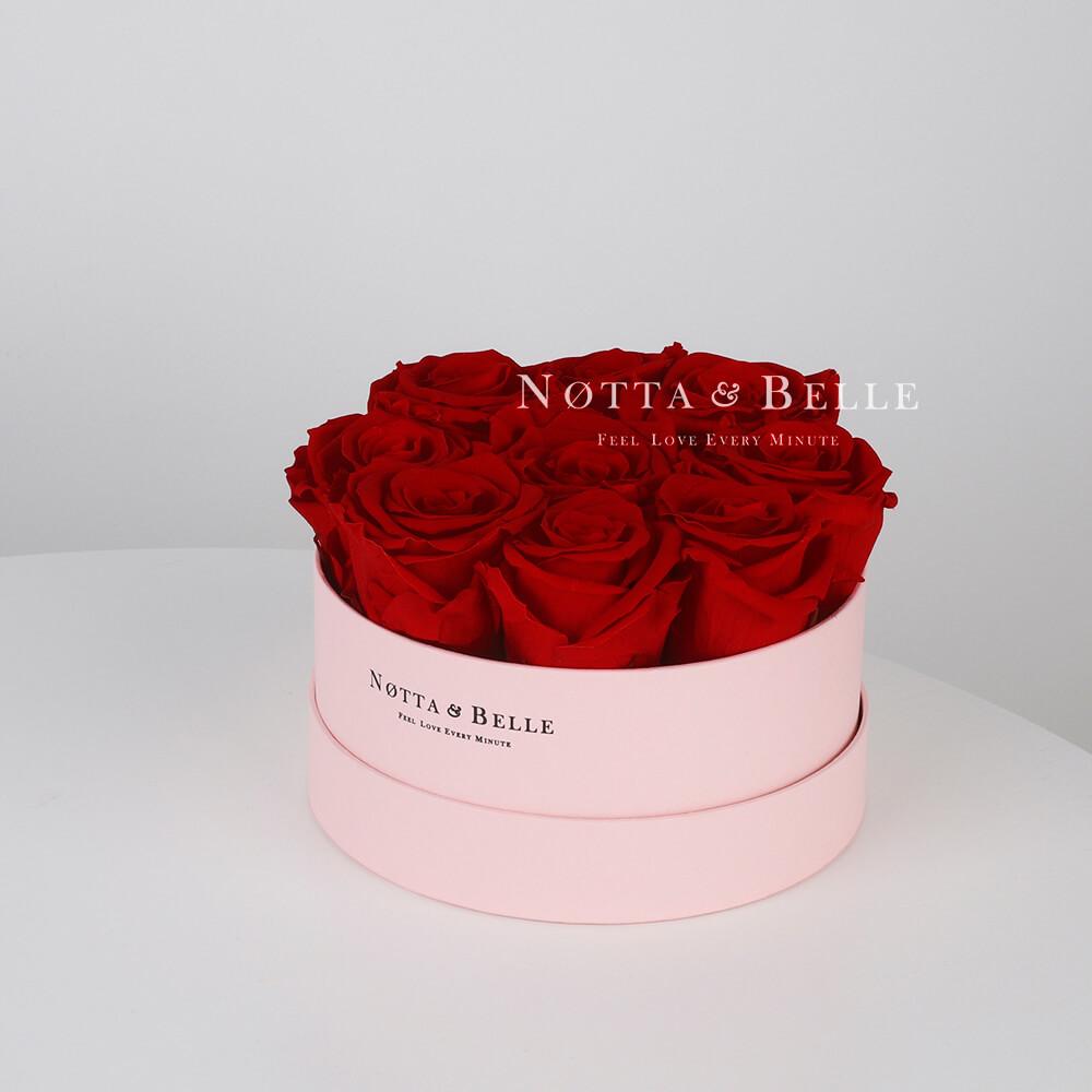 Долговечный букет из 9 бордовых роз - №1035