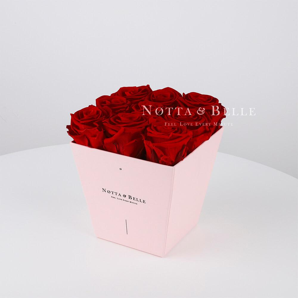 Долговечный букет из 9 бордовых роз - №165