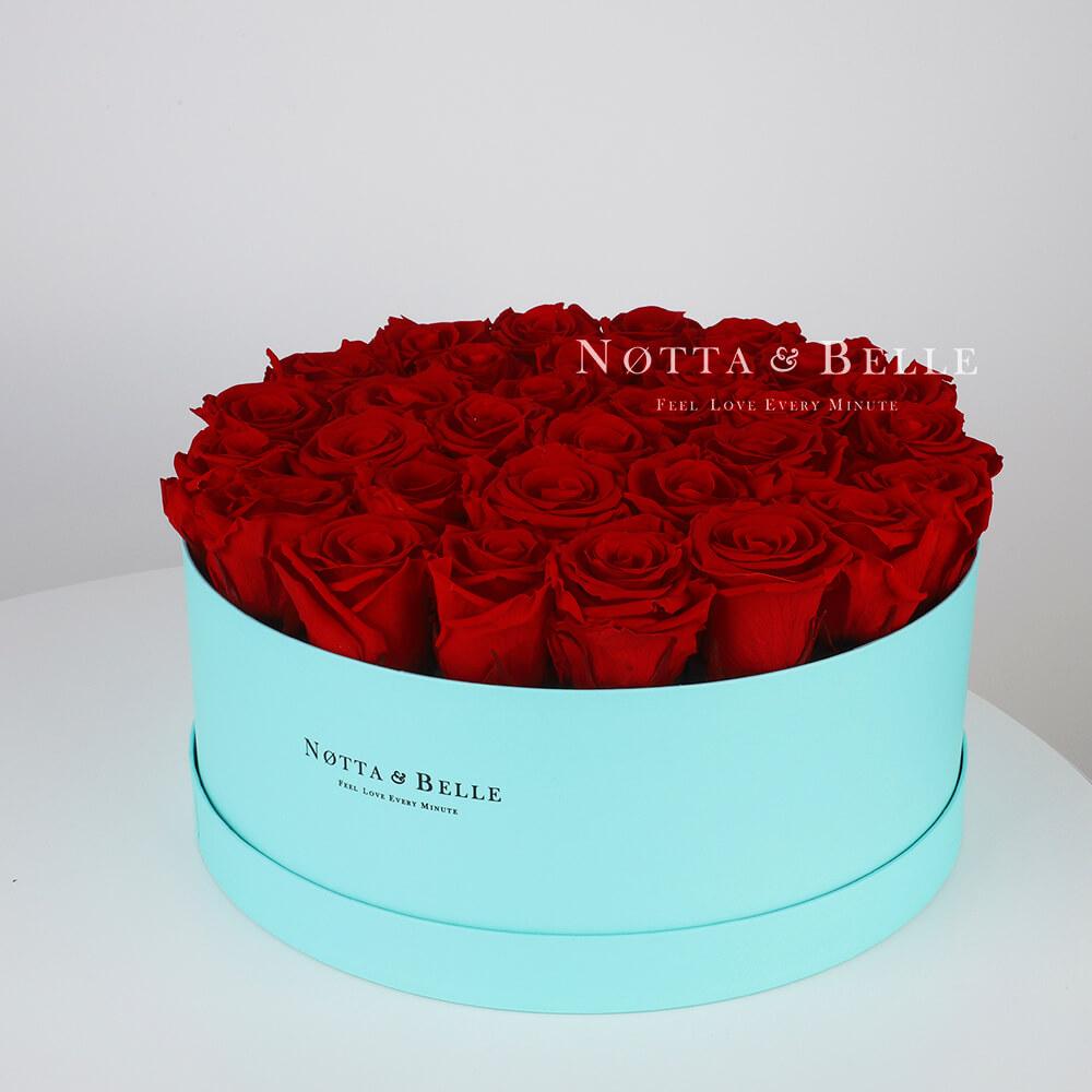 Долговечный букет из 29 бордовых роз - №1233