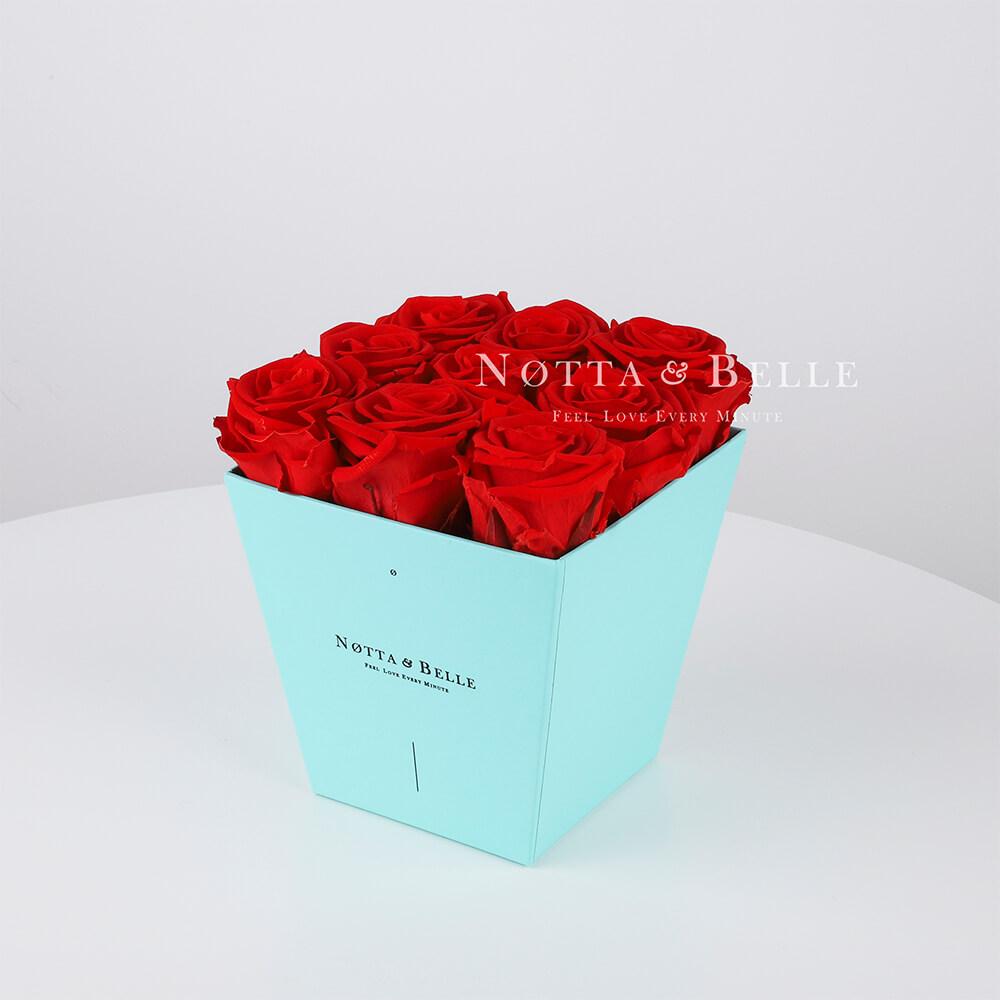 Долговечный букет из 9 красных роз - №113
