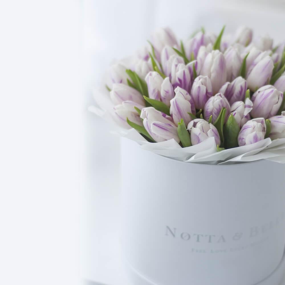 Mini Фиолетово-белые тюльпаны в шляпных коробках белого цвета