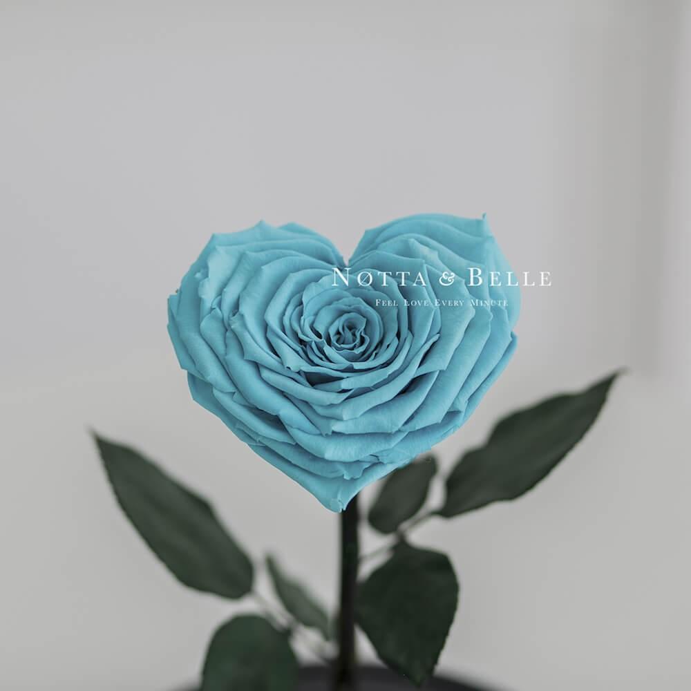 Бутон в форме сердца бирюзовой розы в колбе - Premium