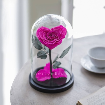 Ярко розовая роза в колбе в форме сердца - Premium