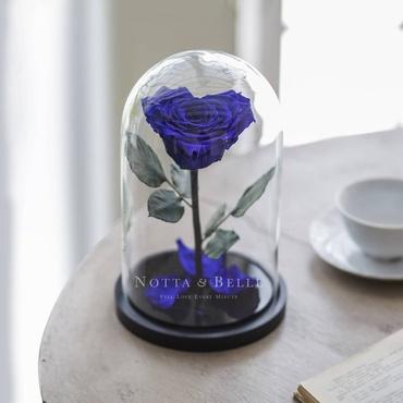 Синяя роза в колбе в форме сердца - Premium