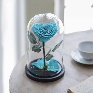 Бирюзовая роза в колбе в форме сердца - Premium