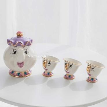 Чайный сервиз - «Красавица и чудовище» с тремя чашками