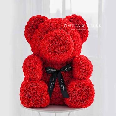 Красный мишка из роз - 70 см