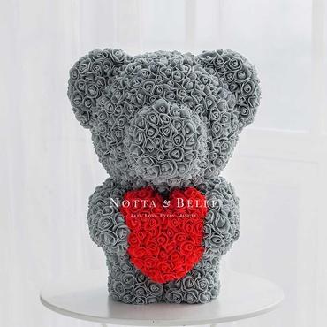 Серый мишка из роз - 60 см
