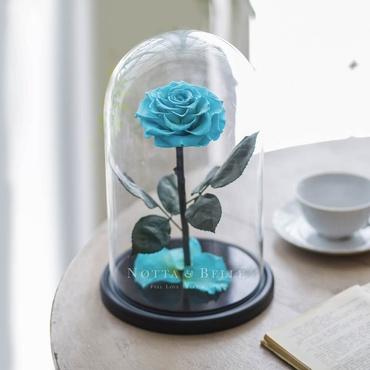 Бирюзовая роза в колбе - King